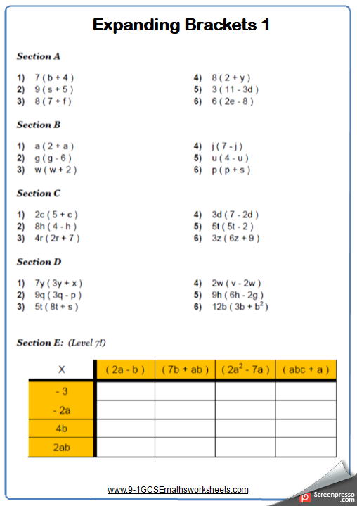 Expanding Single Brackets Maths Worksheet And Answers Gcse Higher  Expanding Single Brackets Maths Worksheet And Answers Gcse Higher Grade  Year