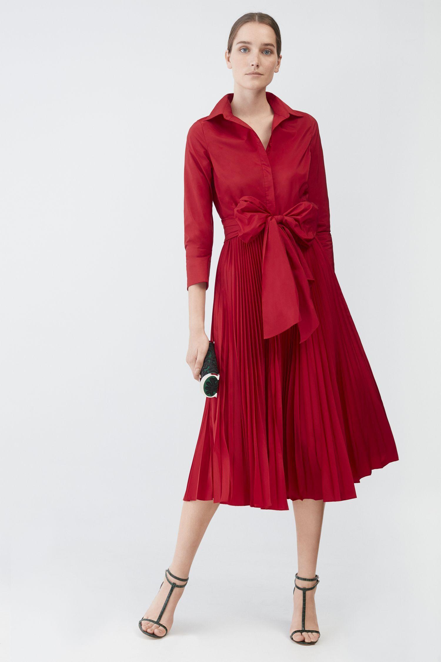 37e1d69975dc30 Vestido camisero midi de tafeta plisada | Cosas para ponerse en 2019 ...