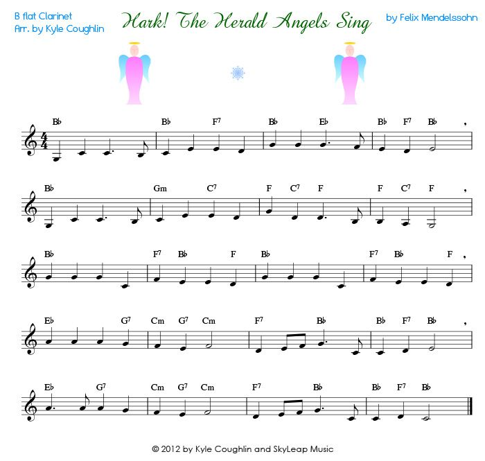 View the printable PDF of Hark the Herald Angels Sing for clarinet ...