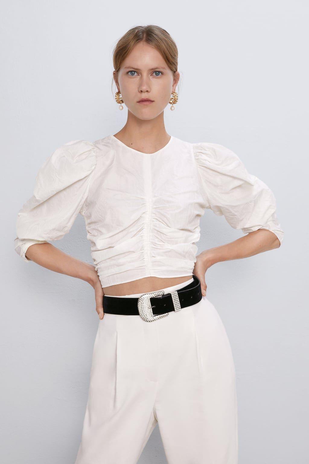 UK Womens Puff Sleeve High Neck Casual OL Shirt Ladies Autumn Crop Tops Blouse