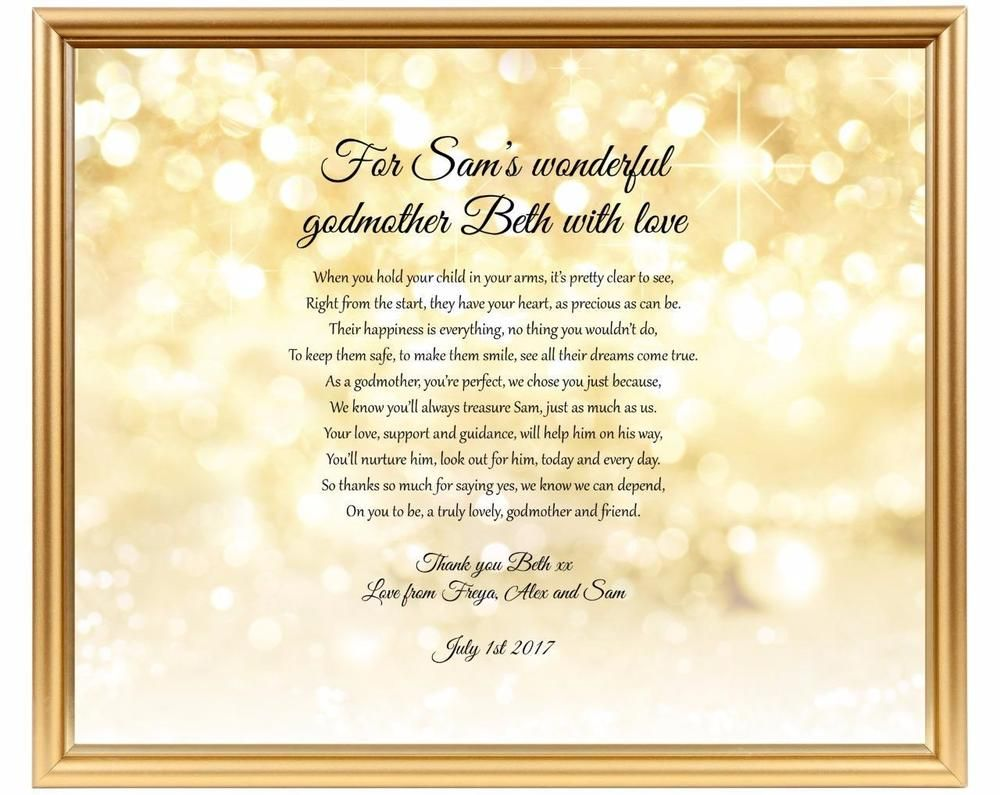 Thank you gift for godparent - Godparents thank you poem ...