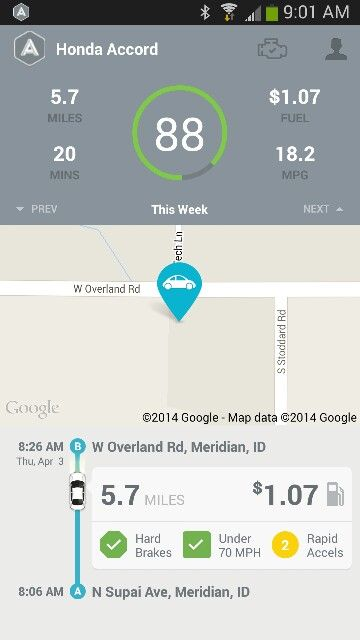 Just finished my first trip with #Automatic. Looks like I need to lay off the accelerator! #driverless #IoT