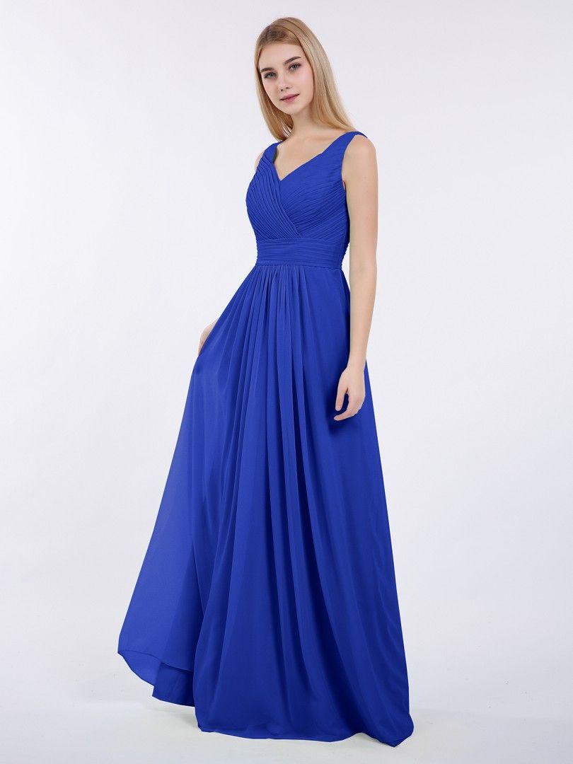 177397887fb Babaroni Camille V-neck Full Length Chiffon Dress with Pleated Bodice