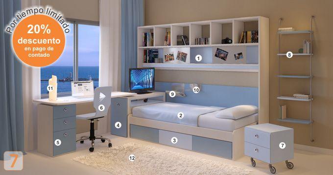 Mueble: (Código A27-57) cama-cajonera-escritorio-biblioteca-sillas ...