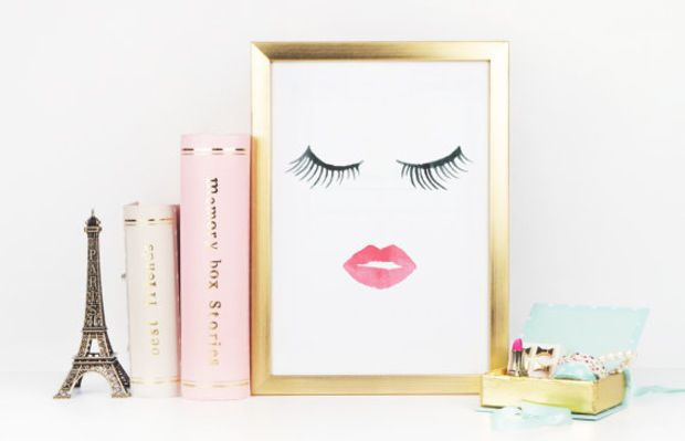 MAKEUP DIGITAL ART,Wake Up And Makeup,Lips,Lashes,Pink Lips,Makeup Print,Bathroom Wall Art,Lashes Art,Bathroom Wall Decor,Gift For Her,Art