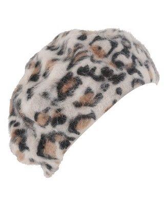 Fuzzy Leopard Print Beret - StyleSays