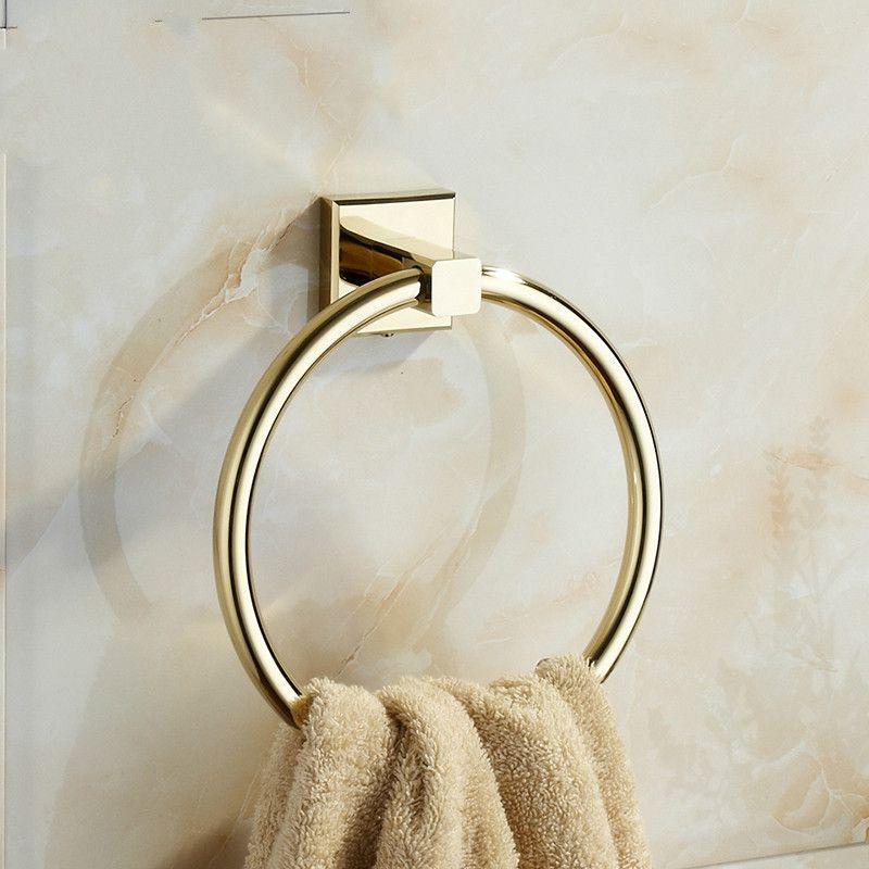 European Zirconium Gold Copper Towel Rack Towel Ring Vintage Brass Polished Towel Bar Mounting Bathroom Accessories B7 Towel Rings Vintage Brass Vintage Polish