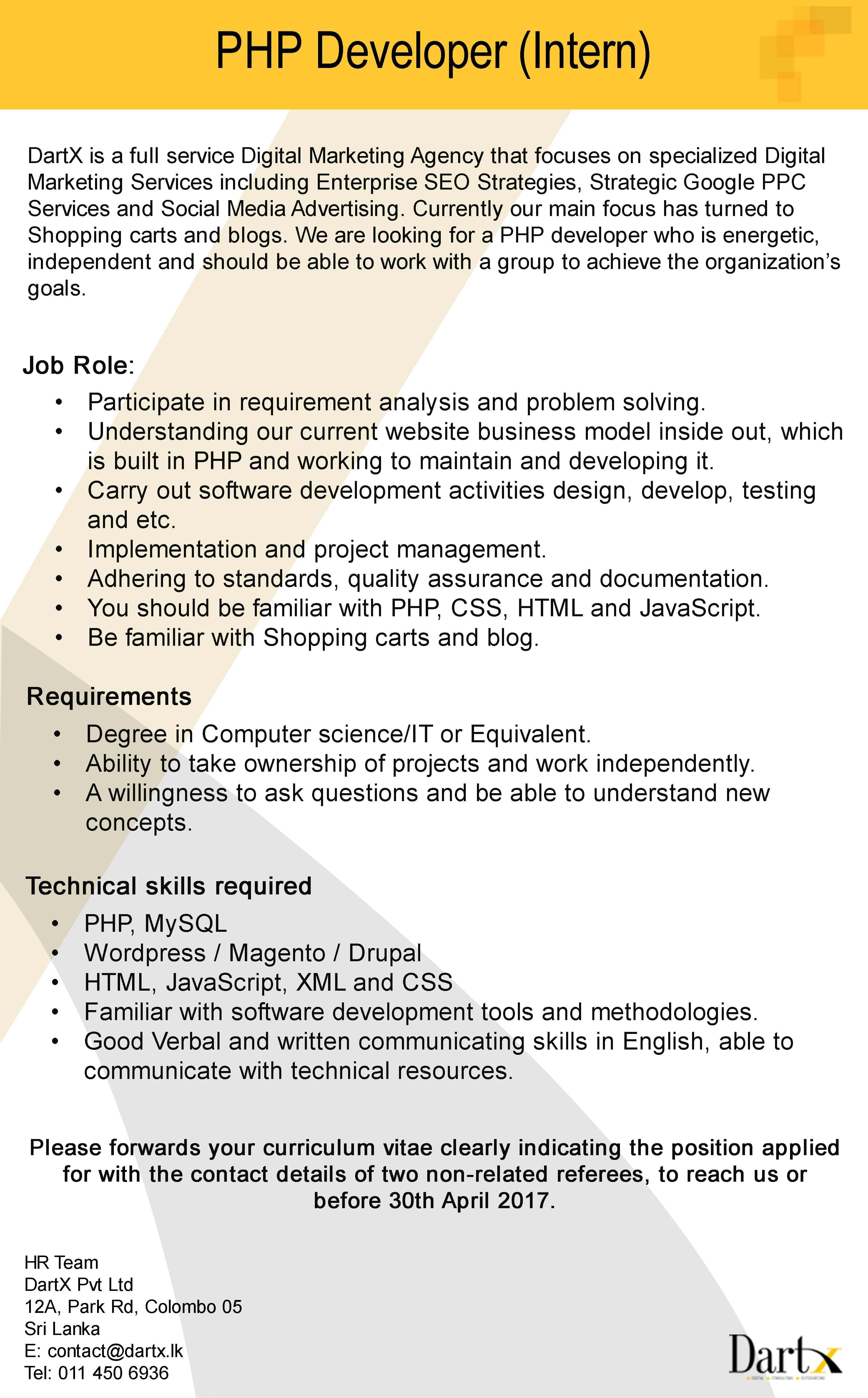 Php Developer Intern At Dartx Pvt Ltd Career First