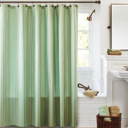 1988 Sea Glass Canopy Chenille Stripe Shower Curtain