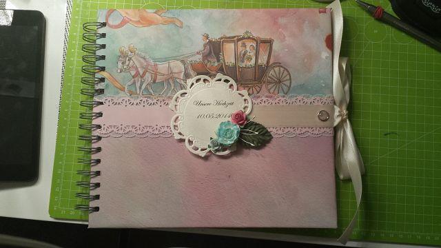 Fotoalbum, Hochzeitsalbum, Handmade Türkis-Rosa