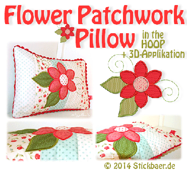 7495fa670888 Flower Patchwork Pillow ITH-Datei mit 3D-Applikation in 3 Rahmengrößen  Machine Embroidery Projects
