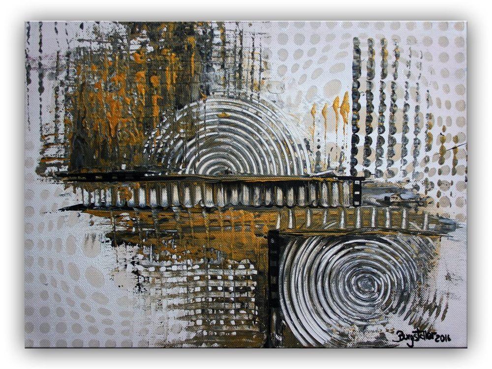 burgstaller acrylbild leinwandbild gold silber leinwand abstrakte malerei bilder abstrakt acrylmalerei kandinsky