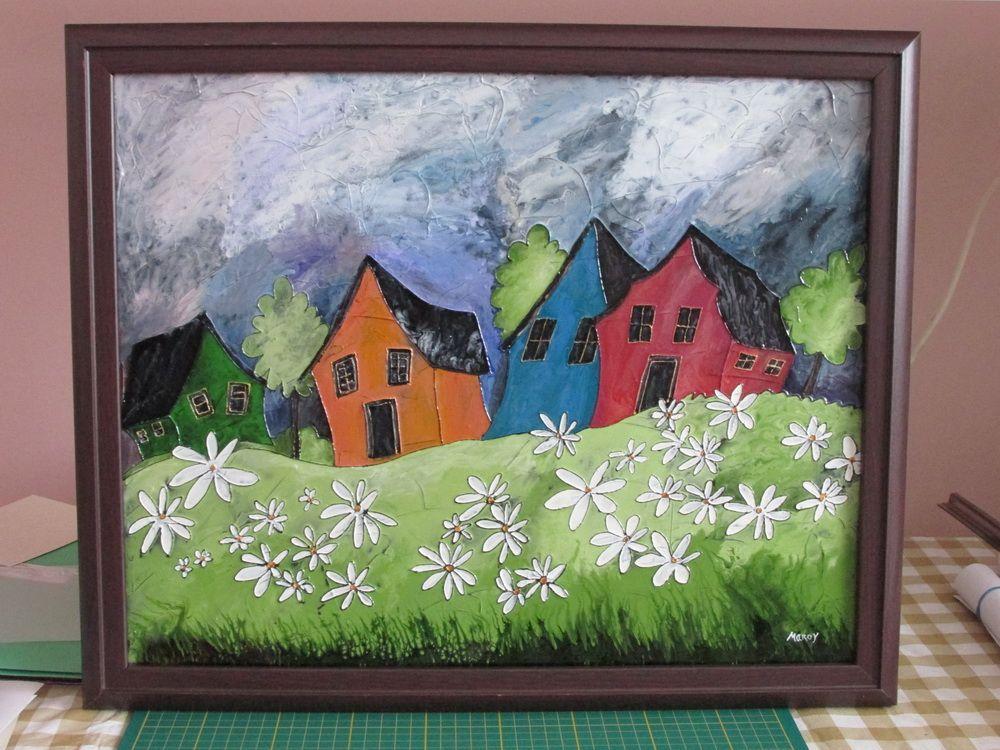 Maisons d 39 t faux vitrail sur toile peintures for Faux vitrail sur miroir