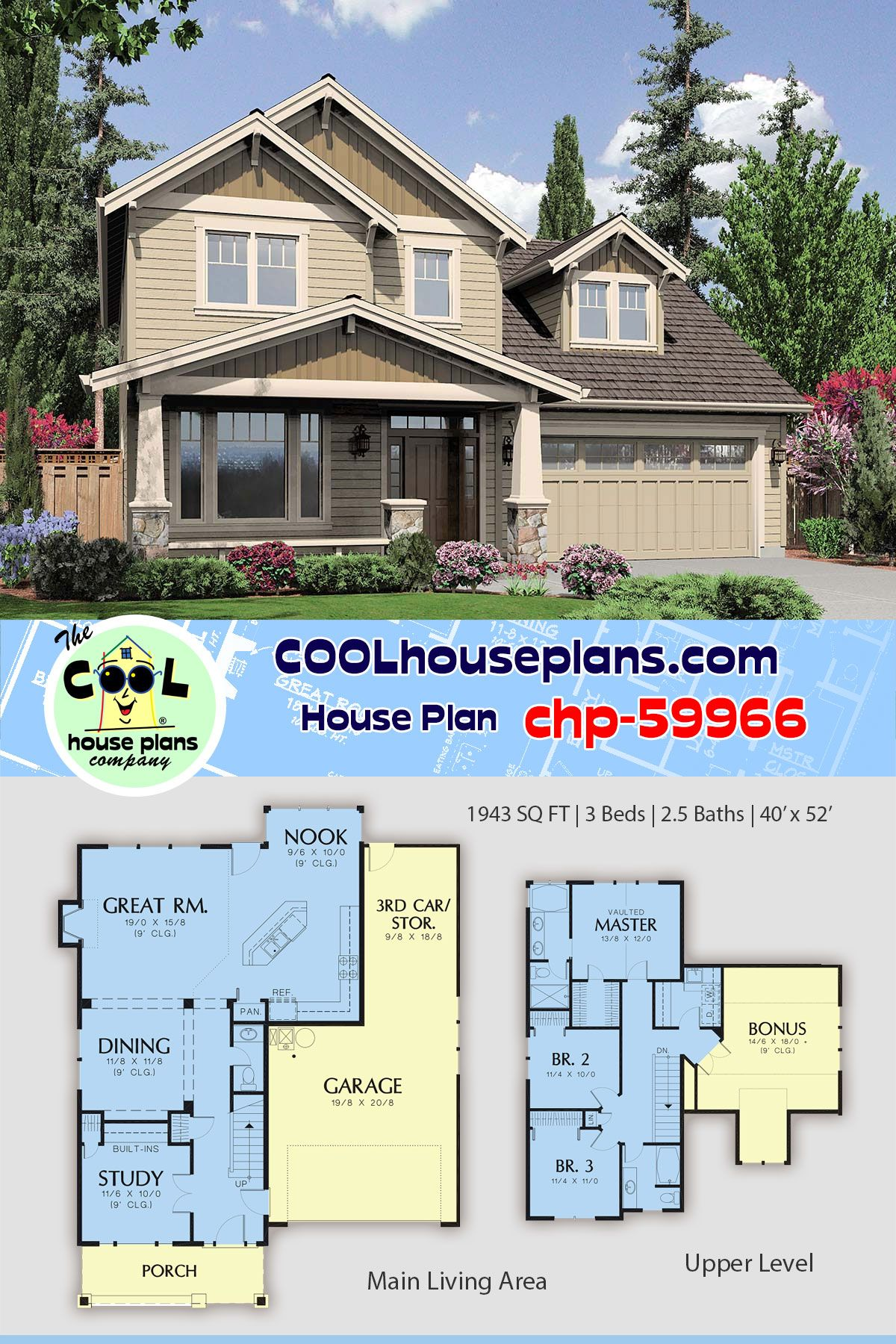 Craftsman Cottage 2 Story Bungalow Home Plan Chp 59966 At Cool House Plans Arts And Cr Bungalow House Plans Craftsman House Plans Craftsman Style House Plans
