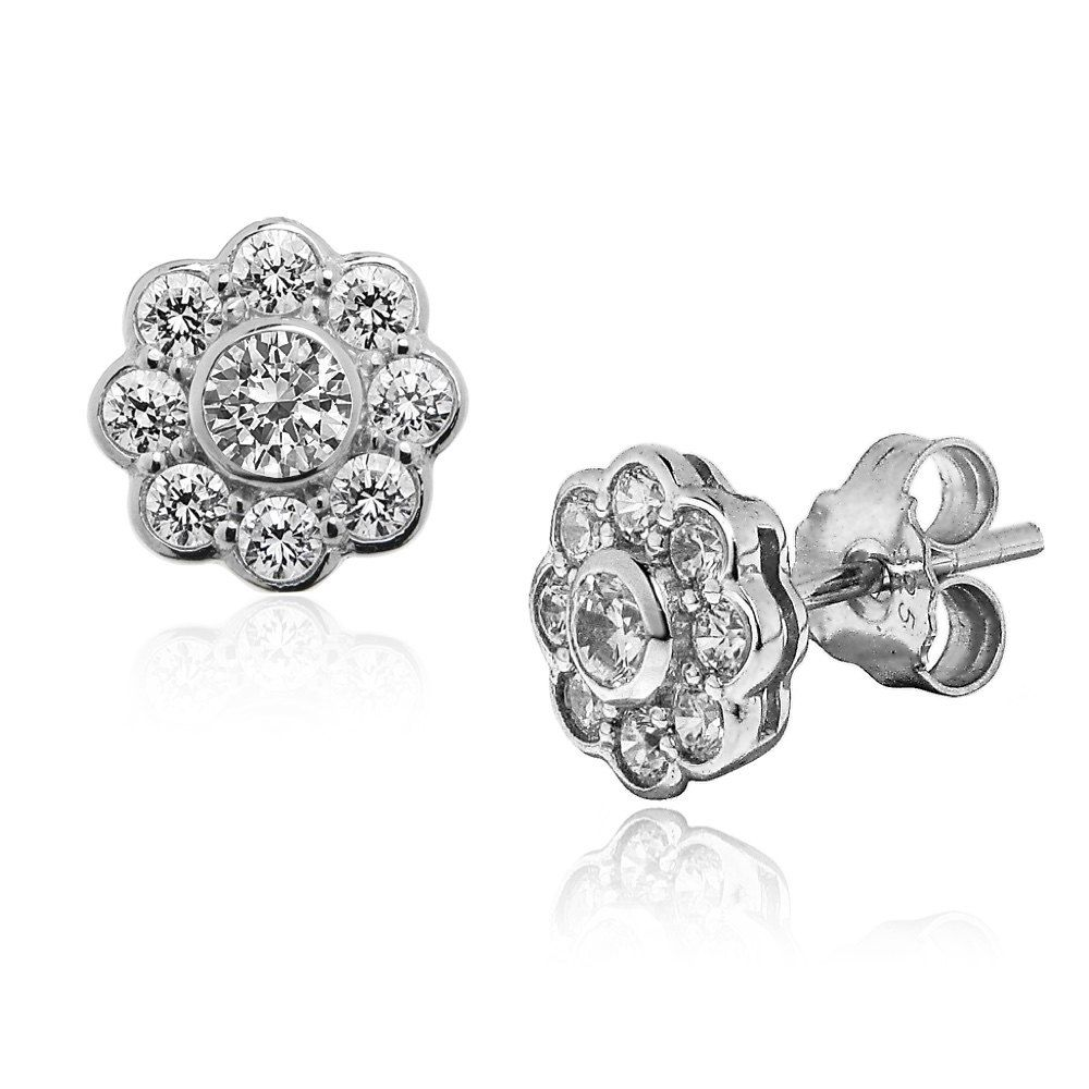 Silver Cz Diamond Daisy Earrings That Really Sparkle Lovely Quality Ref Aee020