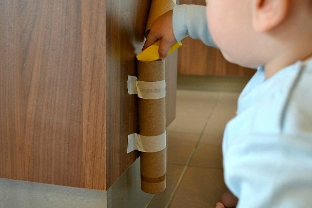 Cardboard tubes fun for 1 year olds