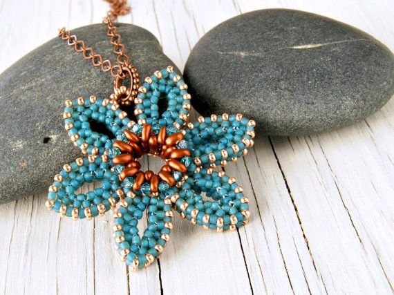 Turquoise Flower Pendant with Copper Colored by TheCanaryBlossom