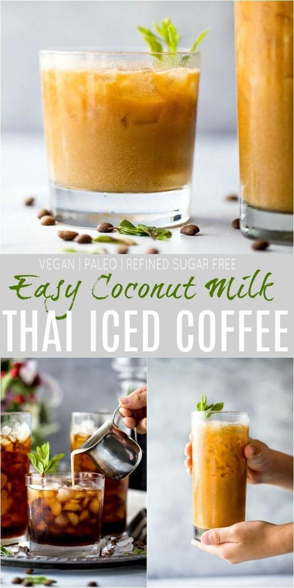 An Easy Coconut Milk Thai Iced Coffee Recipe you need on hand at all times. This strong cardamom flavored coffee is served over ice with a maple sweetened coconut milk creamer for the ultimate refreshing sip!