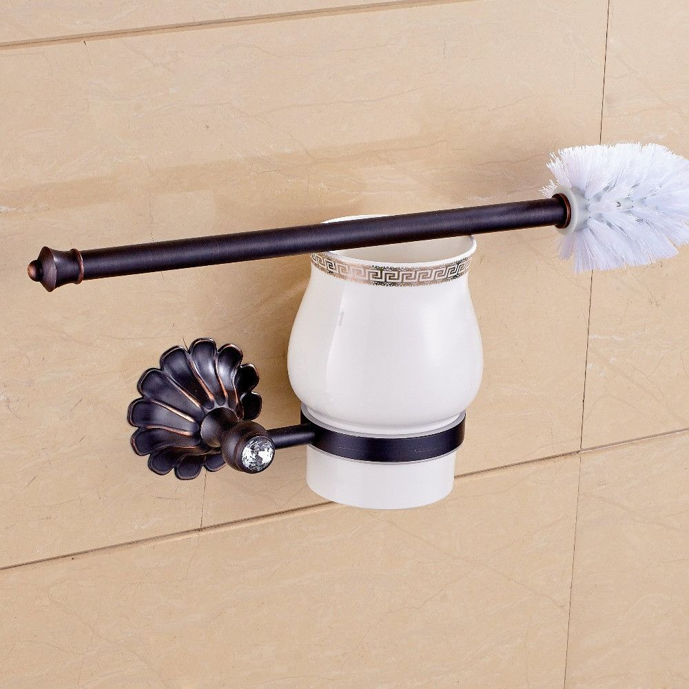 Oil Rubbed Bronze Finished Bathroom Toilet Brush Holder Set Wall