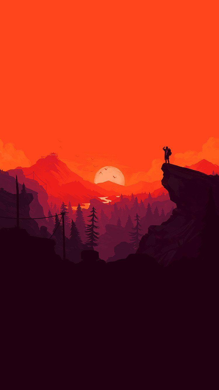 Nature Sunset Simple Minimal Illustration Art Red Wallpaper