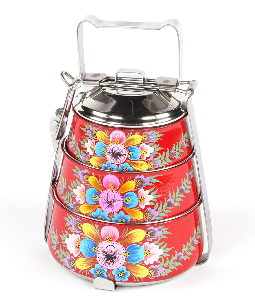 Karma Living Red Floral Tiffin Tin Zulily Red Floral Tin Tiffin