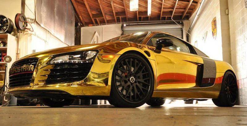 Audi R8 Gold Chrome Tyga Celebrity Cars Audi Gold Car