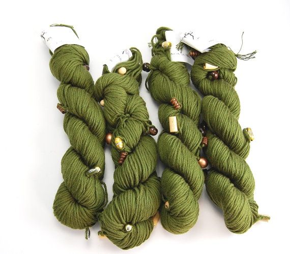 Beaded Cotton Acrylic Yarn dk. olive Green by Spindleyarn on Etsy