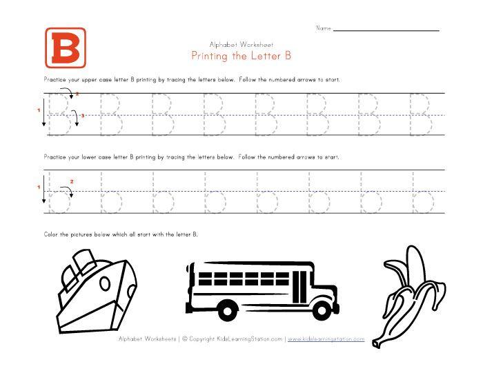Free Traceable Alphabet Letter B Worksheet Preschool