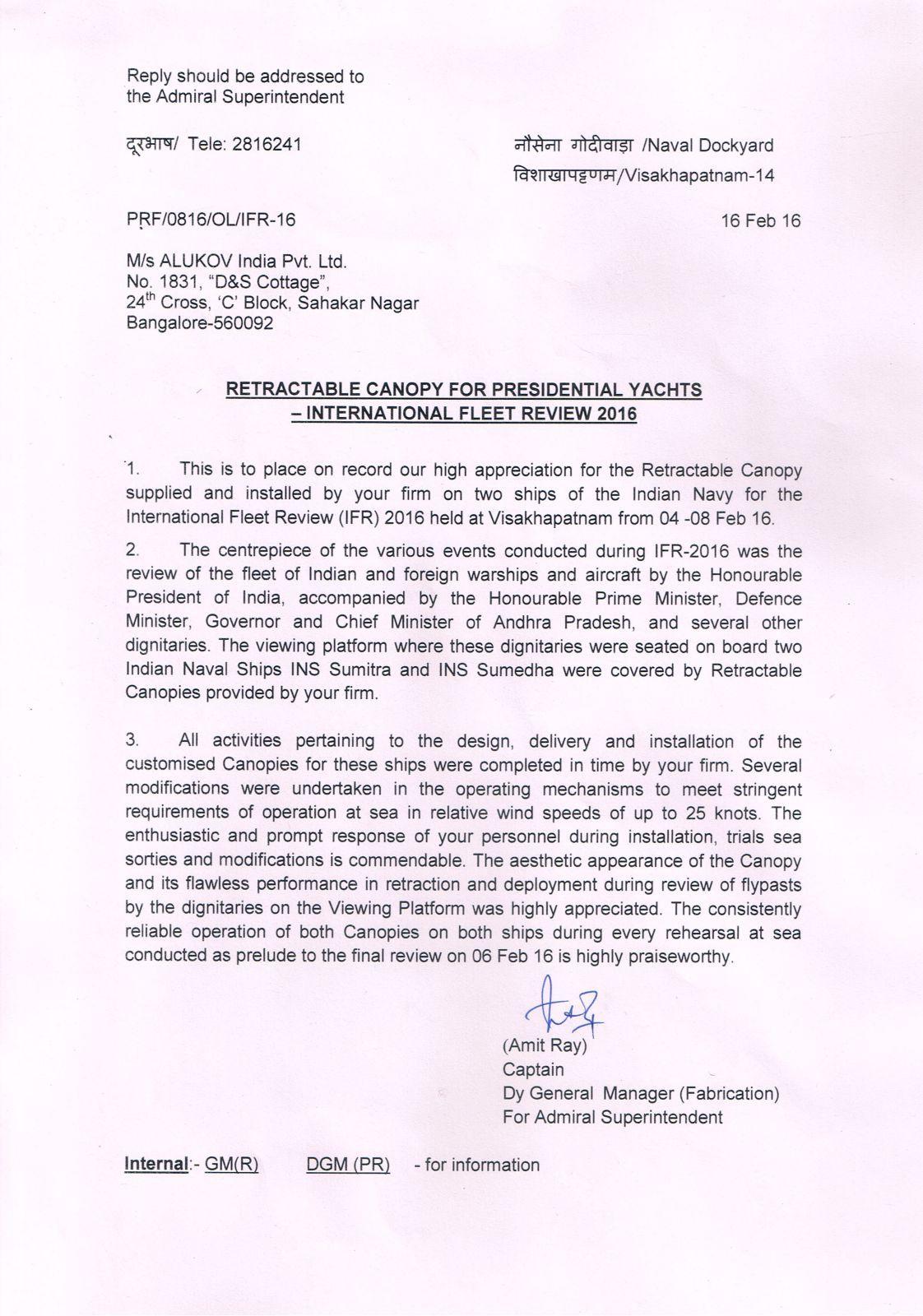 INDIAN NAVY APPRECIATION LETTER Appreciation letter