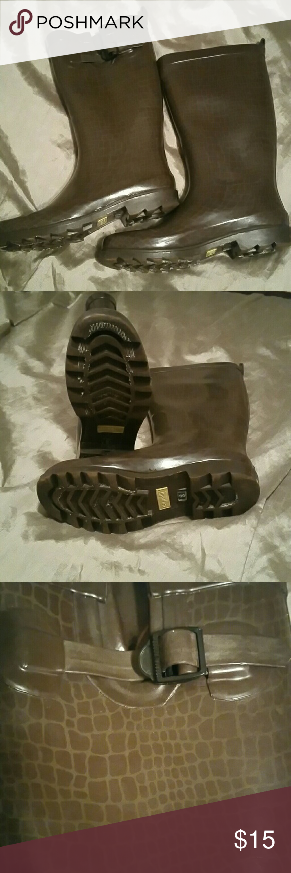 heavy duty Capelli rain boots Grayish/Green heavy duty rubber sole...looks dirty but actually had a netting on the bottom that wears off & leaves a white texture. Excellent lightly loved condition.  size 8 Capelli New York Shoes Winter & Rain Boots