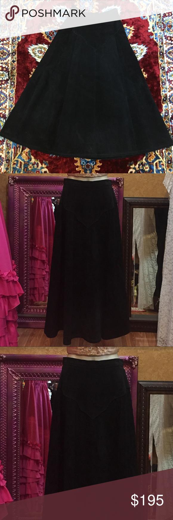 Vintage s western black suede leather skirt goth boutique