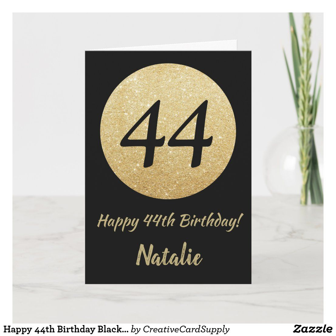 Happy 44th Birthday Black and Gold Glitter Card