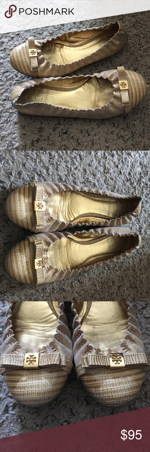 Tory Burch Gold Bow Reva Ballet Flats Gorgeous Tory Burch flats. Tan crocodile front with gold leather. Gold bow in front. Decent used condition. There is some wear on the backs as seen in pictures. Size: 6.5. Tory Burch Shoes Flats & Loafers