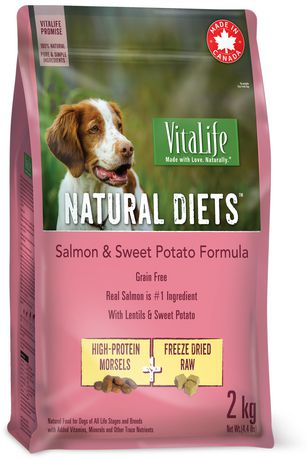 Vitalife Natural Diets Dog Food Salmon Sweet Potato Grain Free
