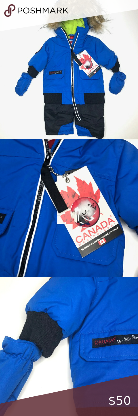 New Canada Weather Gear Blue Snowsuit 3 6mo Brand New With Tags Blue Canada Weather Gear Snowsuit For 3 6 Months Water Pr In 2020 Snow Suit Kids Jacket Clothes Design