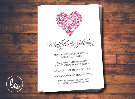 Heart Wedding Invitations Uk: Engagement Invitation