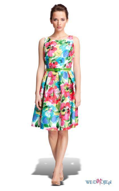 9610f7e42d kolorowa sukienka Quiosque w kwiaty rozkloszowana - kolekcja wiosenno letnia