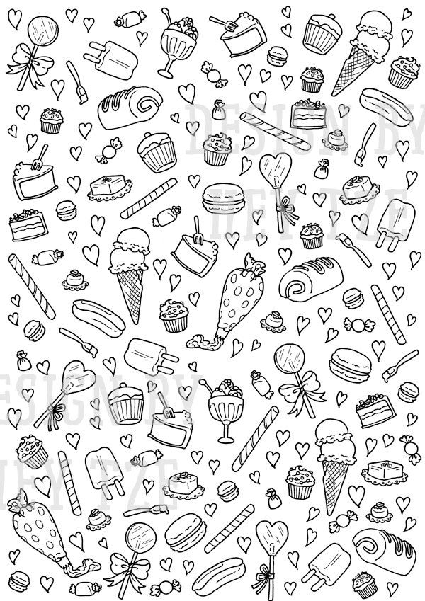 Sweets And Pastries Colouring Page Sweets Colouring Page Hearts