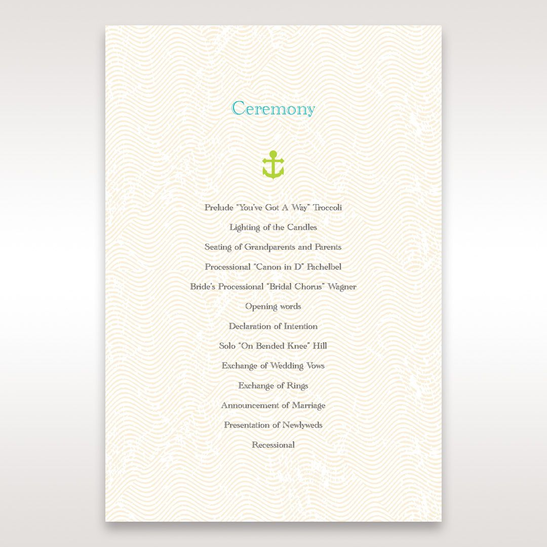 Green Anchors Aweigh - Order of Service - Wedding Stationery - 91