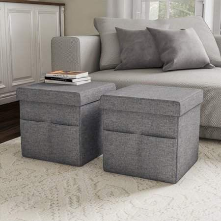 Astonishing Lavish Home Foldable Storage Cube Ottoman With Pockets Pair Machost Co Dining Chair Design Ideas Machostcouk