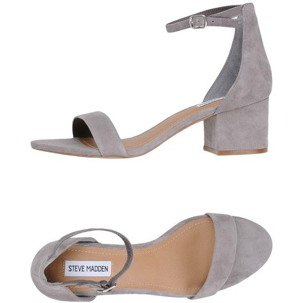 Steve Madden Sandals ($100) ❤ liked on Polyvore featuring shoes, sandals, grey, square heel shoes, genuine leather shoes, animal shoes, gray sandals and grey leather sandals