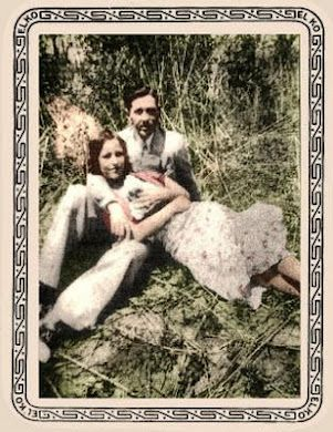 colorized photo of Clyde, Bonnie, and Sonny Boy, the rabbit she got as a gift for her mother