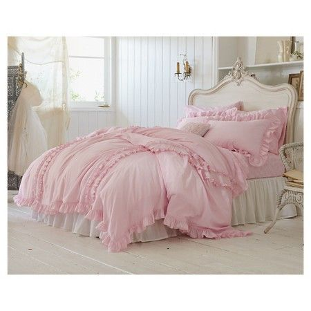 Blush Pink Linen Duvet Cover With 2 Rows Of Ruffles Stunning