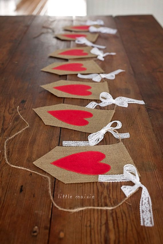 Burlap & Lace Heart Banner by LittleMaisie on Etsy