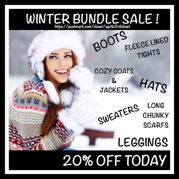 ❤️❄️☃️ 20% OFF WINTER BUNDLE SALE ☃️❄️❤️ ❤️❄️☃️ 20% OFF WINTER BUNDLE SALE ☃️❄️❤️Take 20% off the listed price of 2+ items or 15% off of single items today! Amazing prices on brands like Free People, Hunter, Converse, Kate Spade, Betsey Johnson, & J.Crew. The 'add to bundle' option in my closet will automatically deduct this 20% discount or make an offer via the 'offer button' for the 15% off sale price on single items & I'll accept it. Super fast 2-day priority shipping to most locations…