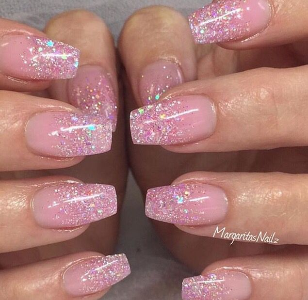 Glitter Ombre Pink Glitter Nails Ombre Nails Glitter Pink Sparkly Nails