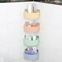 Bathroom Kitchen Rack Holder Plastic Storage Shelf Adhesive Type Wall Mounted