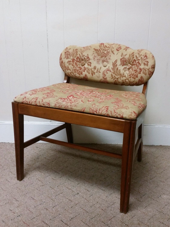 Art Deco Vanity Bench Stool Vintage 60s Wood Chair Piano Seat ...