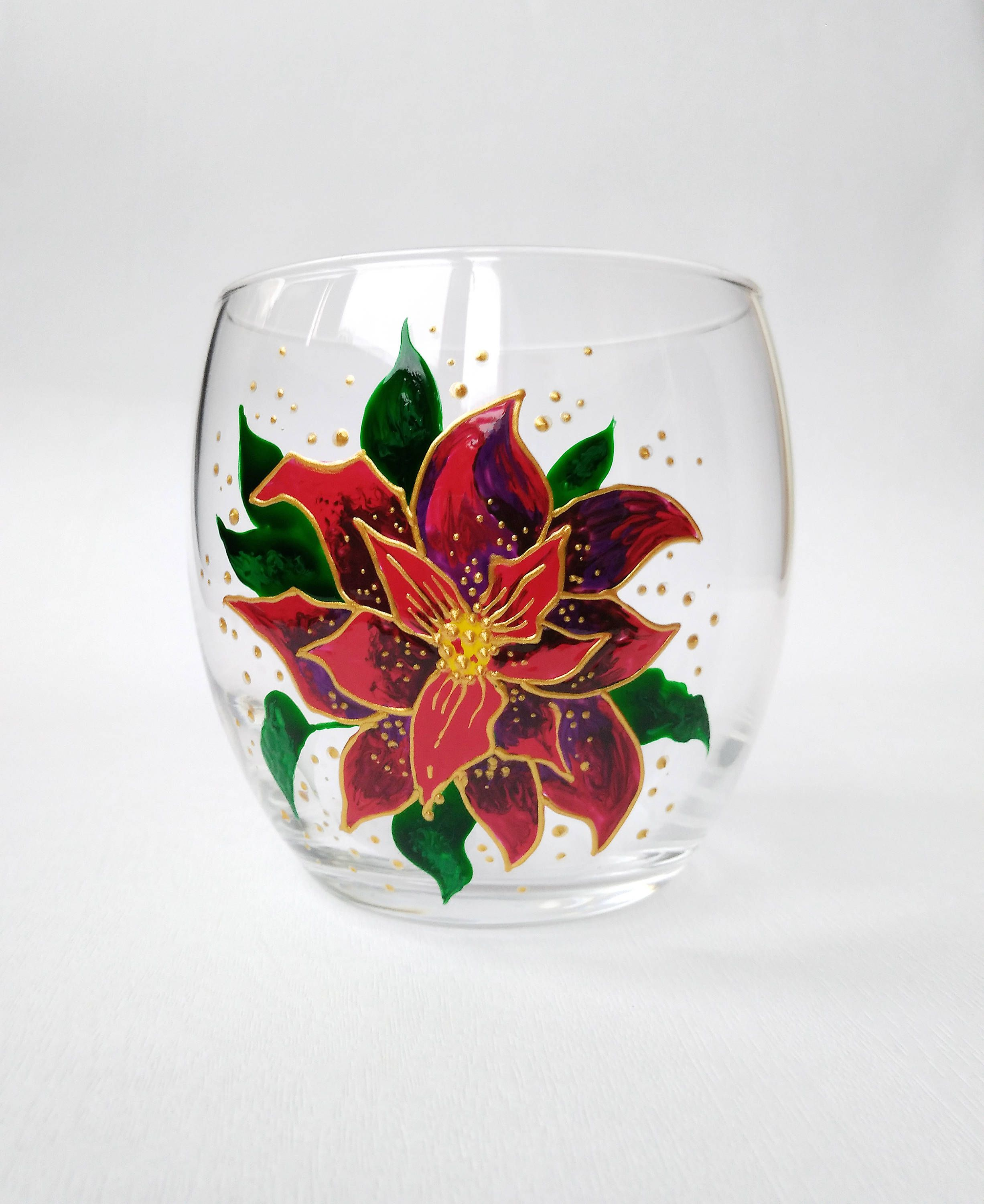 Christmas Gift Poinsettia Wine Glass Stemless Wine Glasses Red Flower Glasses Personalized Christmas Wine Glasses Painted Wine Glasses Christmas Glass Painting