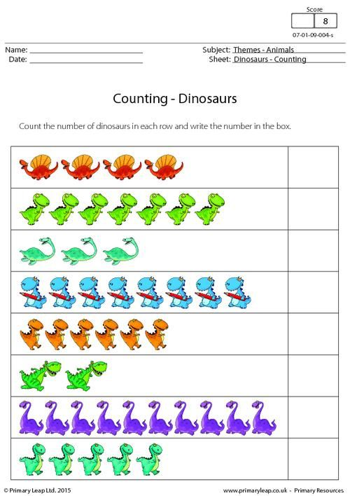 counting dinosaurs worksheet maths printable worksheets primaryleap. Black Bedroom Furniture Sets. Home Design Ideas